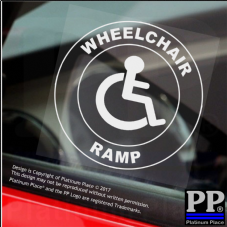 1 x Wheelchair Ramp-Round-Window Sticker-Sign,Car,Badge,Disabled,Warning,Notice